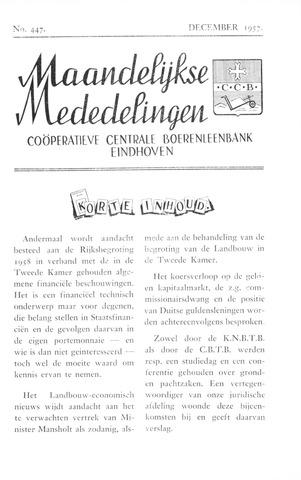 blad 'Maandelijkse Mededelingen' (CCB) 1957-12-01