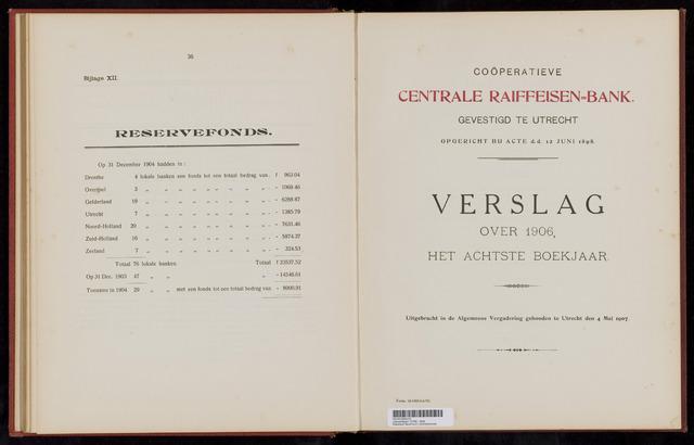 Jaarverslagen Coöperatieve Centrale Raiffeisen-Bank 1906-12-31