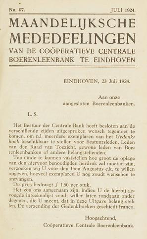 blad 'Maandelijkse Mededelingen' (CCB) 1924-07-01