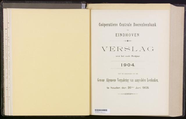 Jaarverslagen Coöperatieve Centrale Boerenleenbank 1904