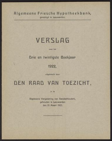 Jaarverslagen Algemeene Friesche Hypotheekbank 1922