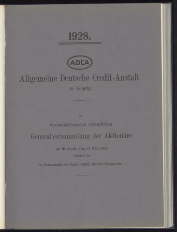 Geschäftsberichte Allgemeine Deutsche Credit-Anstalt / ADCA Bank 1928-01-01