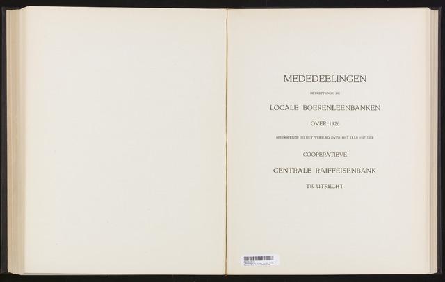 Mededelingen lokale banken CCRB 1926-12-31