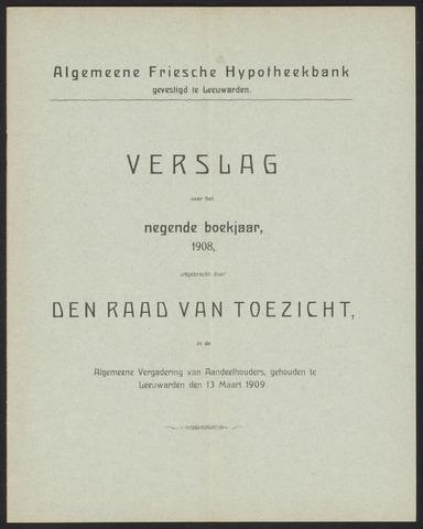 Jaarverslagen Algemeene Friesche Hypotheekbank 1908