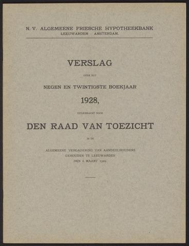 Jaarverslagen Algemeene Friesche Hypotheekbank 1928