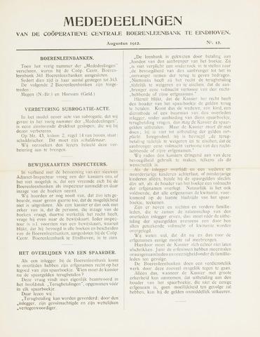 blad 'Mededeelingen' (CCB) 1912-08-01