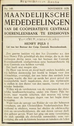 blad 'Maandelijkse Mededelingen' (CCB) 1928-11-01