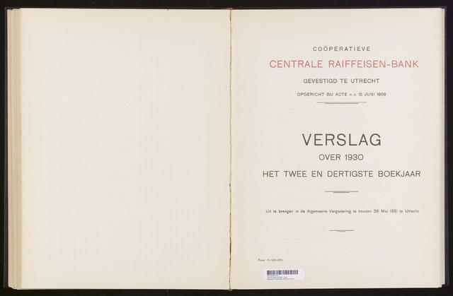 Jaarverslagen Coöperatieve Centrale Raiffeisen-Bank 1930