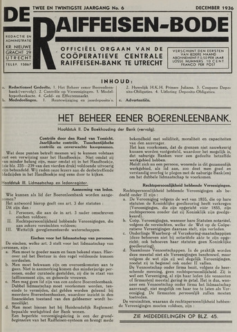 blad 'De Raiffeisen-bode' (CCRB) 1936-12-01