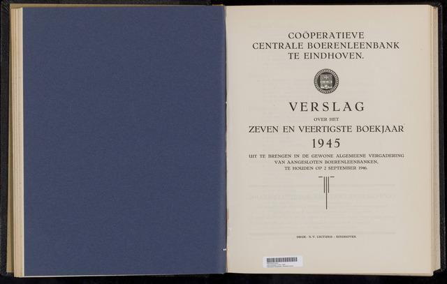 Jaarverslagen Coöperatieve Centrale Boerenleenbank 1945-12-31