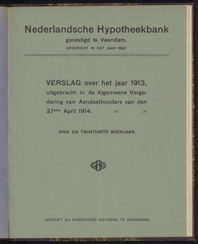 Jaarverslagen Nederlandsche Hypotheekbank 1913