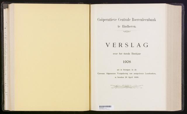 Jaarverslagen Coöperatieve Centrale Boerenleenbank 1908-12-31