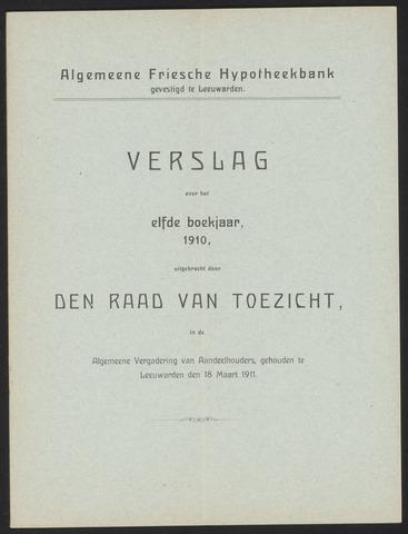 Jaarverslagen Algemeene Friesche Hypotheekbank 1910