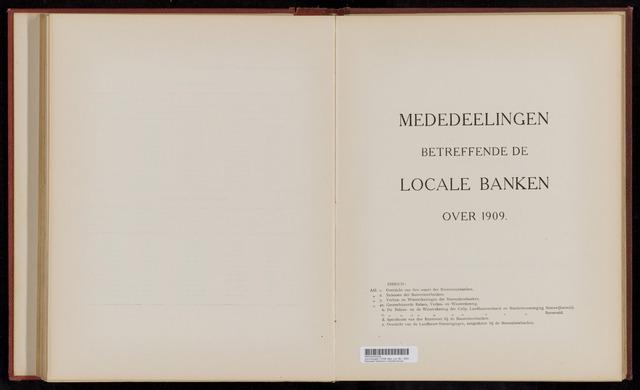 Mededelingen lokale banken CCRB 1909