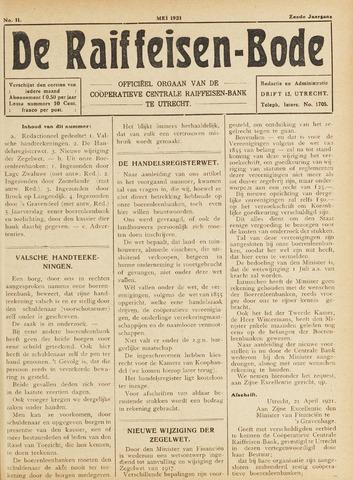 blad 'De Raiffeisen-bode' (CCRB) 1921-05-01