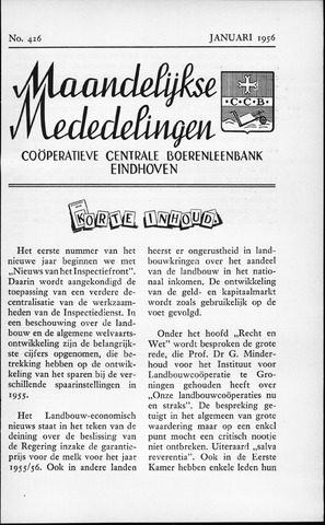 blad 'Maandelijkse Mededelingen' (CCB) 1956-01-01