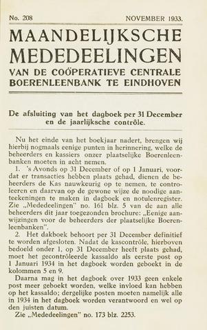 blad 'Maandelijkse Mededelingen' (CCB) 1933-11-01