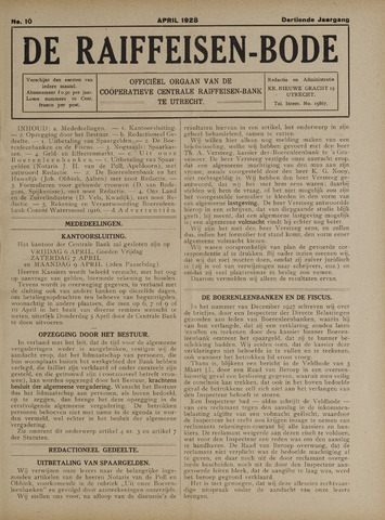 blad 'De Raiffeisen-bode' (CCRB) 1928-04-01