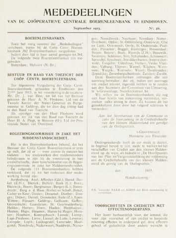blad 'Mededeelingen' (CCB) 1915-09-01
