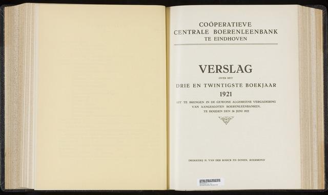 Jaarverslagen Coöperatieve Centrale Boerenleenbank 1921