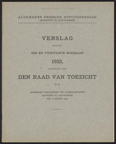 Jaarverslagen Algemeene Friesche Hypotheekbank 1925