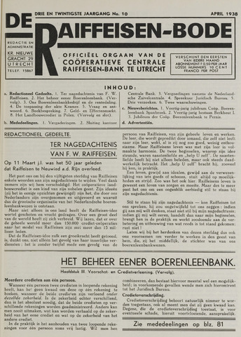 blad 'De Raiffeisen-bode' (CCRB) 1938-04-01