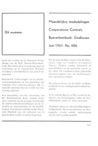 blad 'Maandelijkse Mededelingen' (CCB) 1961-06-01
