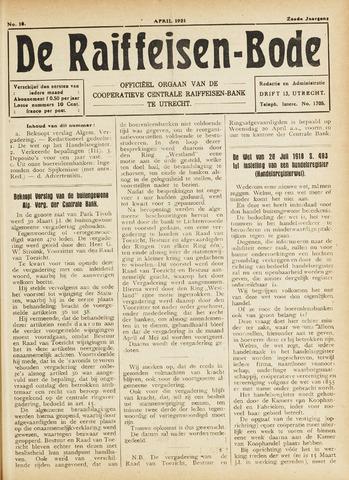 blad 'De Raiffeisen-bode' (CCRB) 1921-04-01