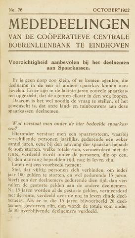 blad 'Maandelijkse Mededelingen' (CCB) 1922-10-01