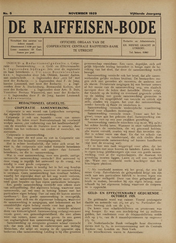 blad 'De Raiffeisen-bode' (CCRB) 1929-11-01