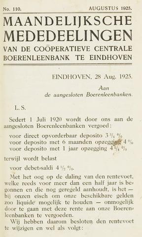 blad 'Maandelijkse Mededelingen' (CCB) 1925-08-01