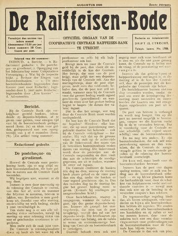 blad 'De Raiffeisen-bode' (CCRB) 1920-08-01