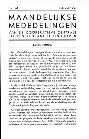 blad 'Maandelijkse Mededelingen' (CCB) 1950-02-01