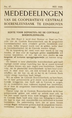 blad 'Maandelijkse Mededelingen' (CCB) 1920-05-01