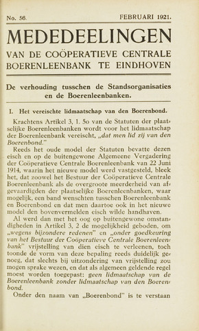blad 'Maandelijkse Mededelingen' (CCB) 1921-02-01