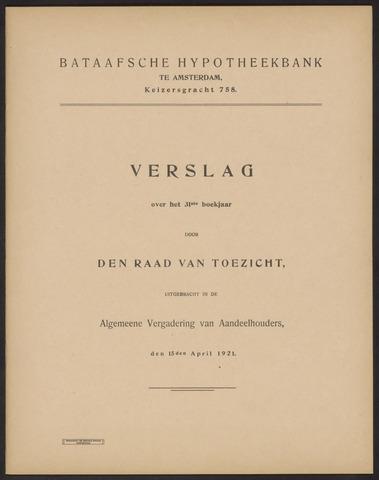 Jaarverslagen Bataafsche Hypotheekbank 1920