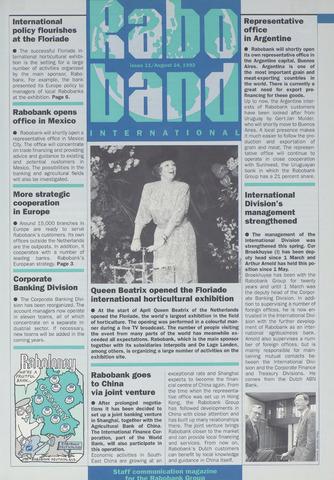 blad 'Raboband International' (EN) 1992-08-24