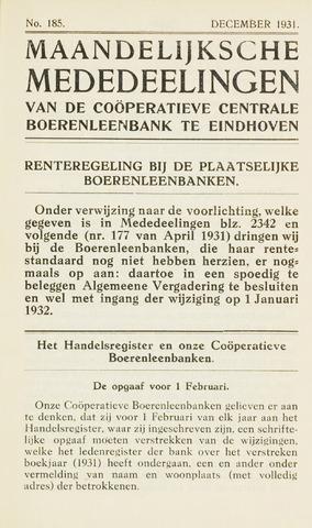 blad 'Maandelijkse Mededelingen' (CCB) 1931-12-01