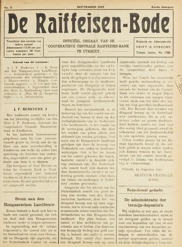 blad 'De Raiffeisen-bode' (CCRB) 1920-09-01