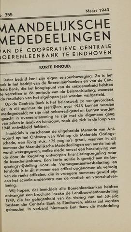 blad 'Maandelijkse Mededelingen' (CCB) 1949-03-01