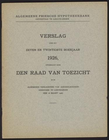 Jaarverslagen Algemeene Friesche Hypotheekbank 1926