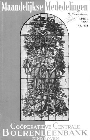 blad 'Maandelijkse Mededelingen' (CCB) 1958-04-01