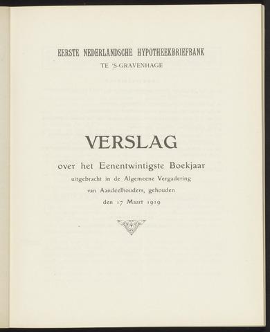 Jaarverslagen Eerste Nederlansche Hypotheekbriefbank 1918