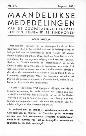 blad 'Maandelijkse Mededelingen' (CCB) 1951-08-01