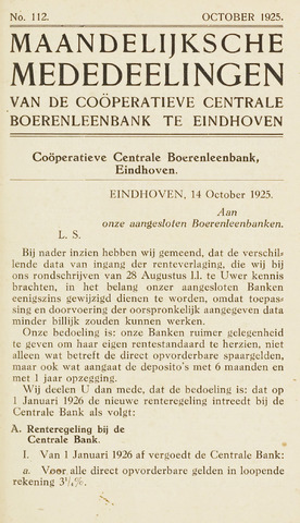 blad 'Maandelijkse Mededelingen' (CCB) 1925-10-01