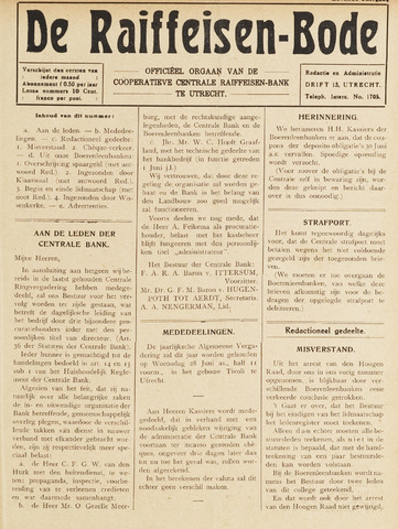 blad 'De Raiffeisen-bode' (CCRB) 1922-06-01