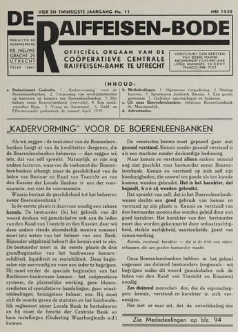 blad 'De Raiffeisen-bode' (CCRB) 1939-05-01