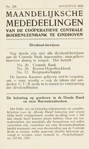 blad 'Maandelijkse Mededelingen' (CCB) 1935-08-01