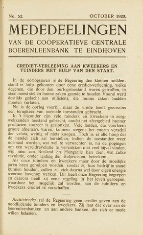 blad 'Maandelijkse Mededelingen' (CCB) 1920-10-01