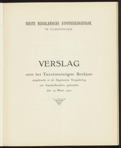 Jaarverslagen Eerste Nederlansche Hypotheekbriefbank 1919